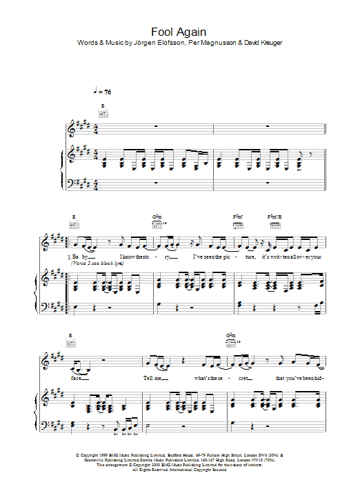 Download Westlife Fool Again sheet music and printable PDF score & Pop music notes