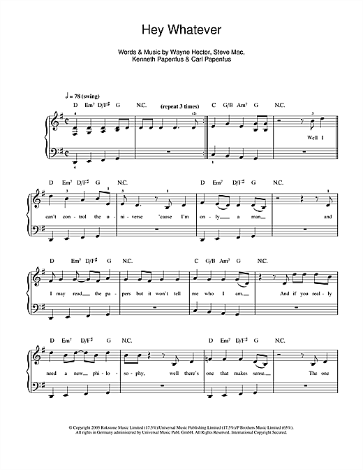 Download Westlife Hey Whatever sheet music and printable PDF score & Pop music notes