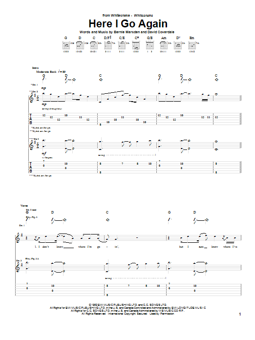 Download Whitesnake Here I Go Again sheet music and printable PDF score & Pop music notes