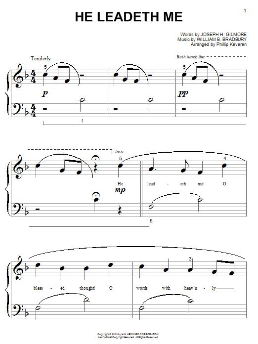 Download William B. Bradbury He Leadeth Me sheet music and printable PDF score & Hymn music notes