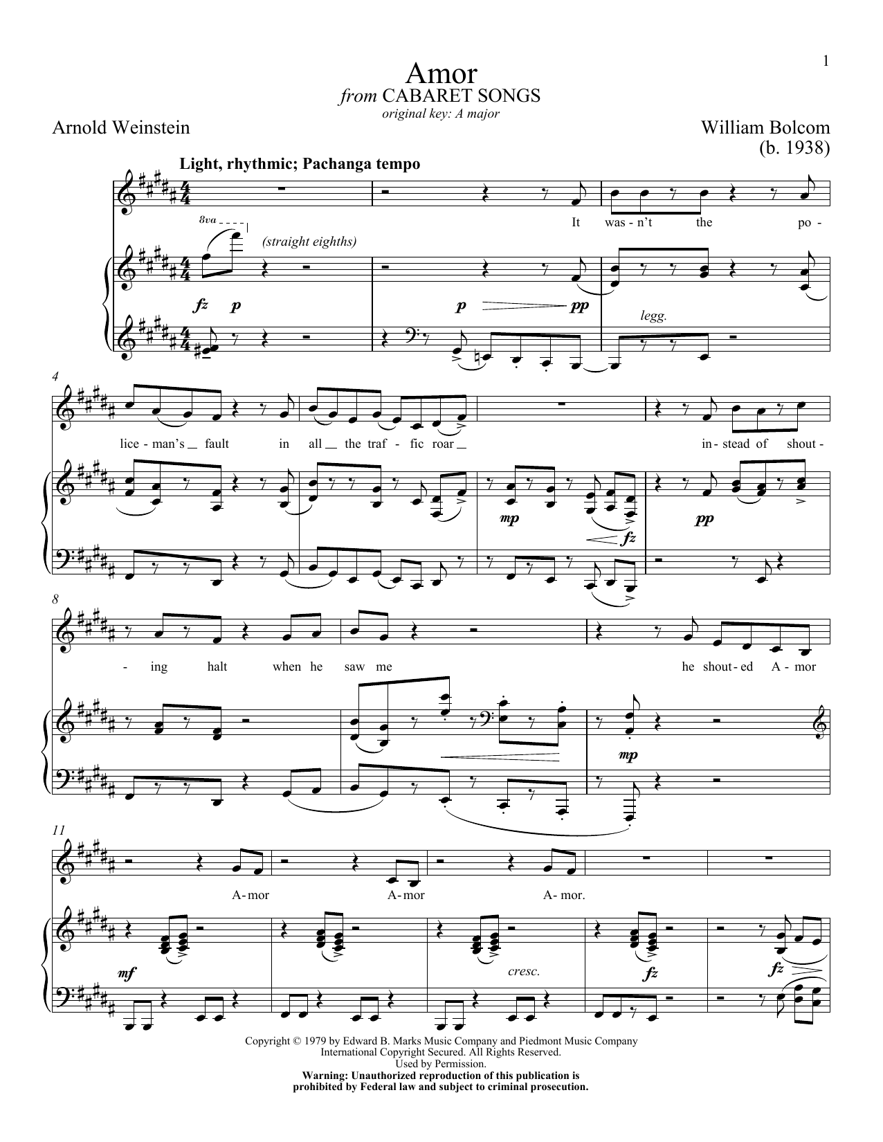 Download William Bolcom Amor sheet music and printable PDF score & American music notes