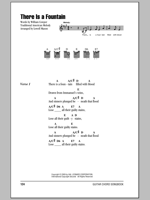 Download William Cowper There Is A Fountain sheet music and printable PDF score & Religious music notes