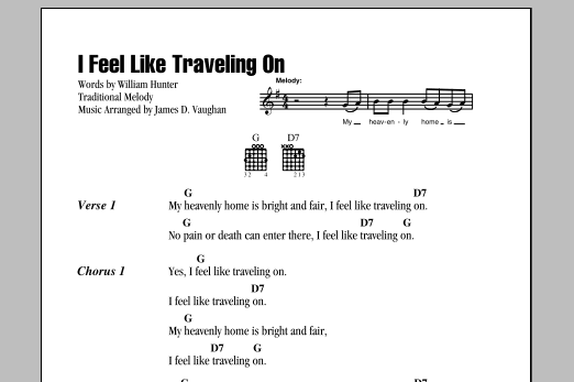 Download William Hunter I Feel Like Traveling On sheet music and printable PDF score & Hymn music notes