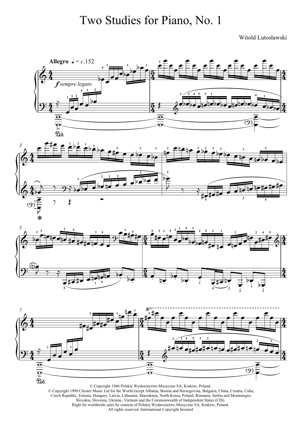 Download Witold Lutoslawski Two Studies For Piano, 1. Allegro sheet music and printable PDF score & Classical music notes