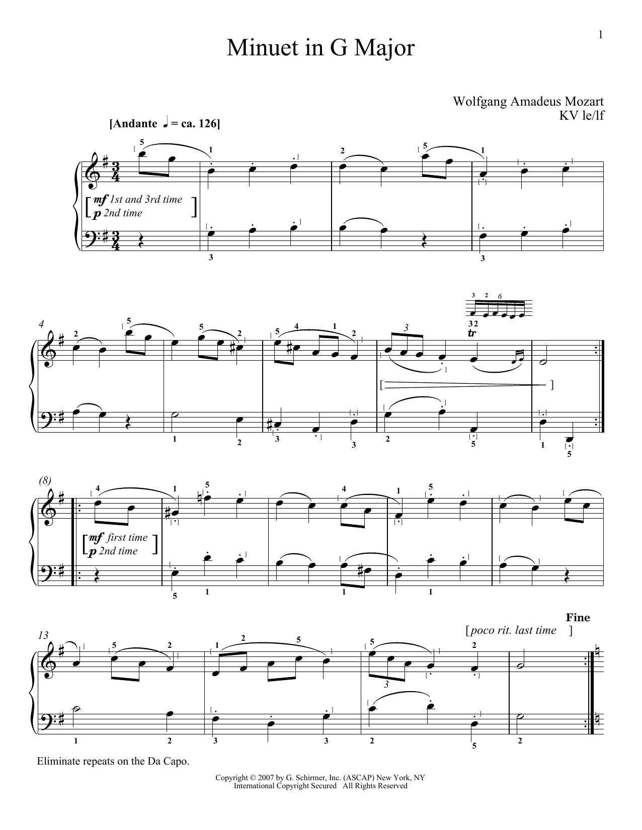 Download Wolfgang Amadeus Mozart Minuet In G Major, K. 1 sheet music and printable PDF score & Classical music notes