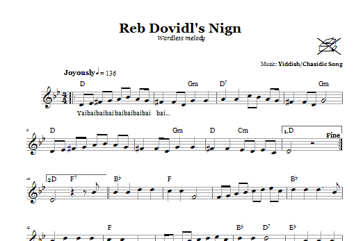 Download Yiddish/Chasidic Song Reb Dovidl's Nign (Wordless Melody) sheet music and printable PDF score & Religious music notes