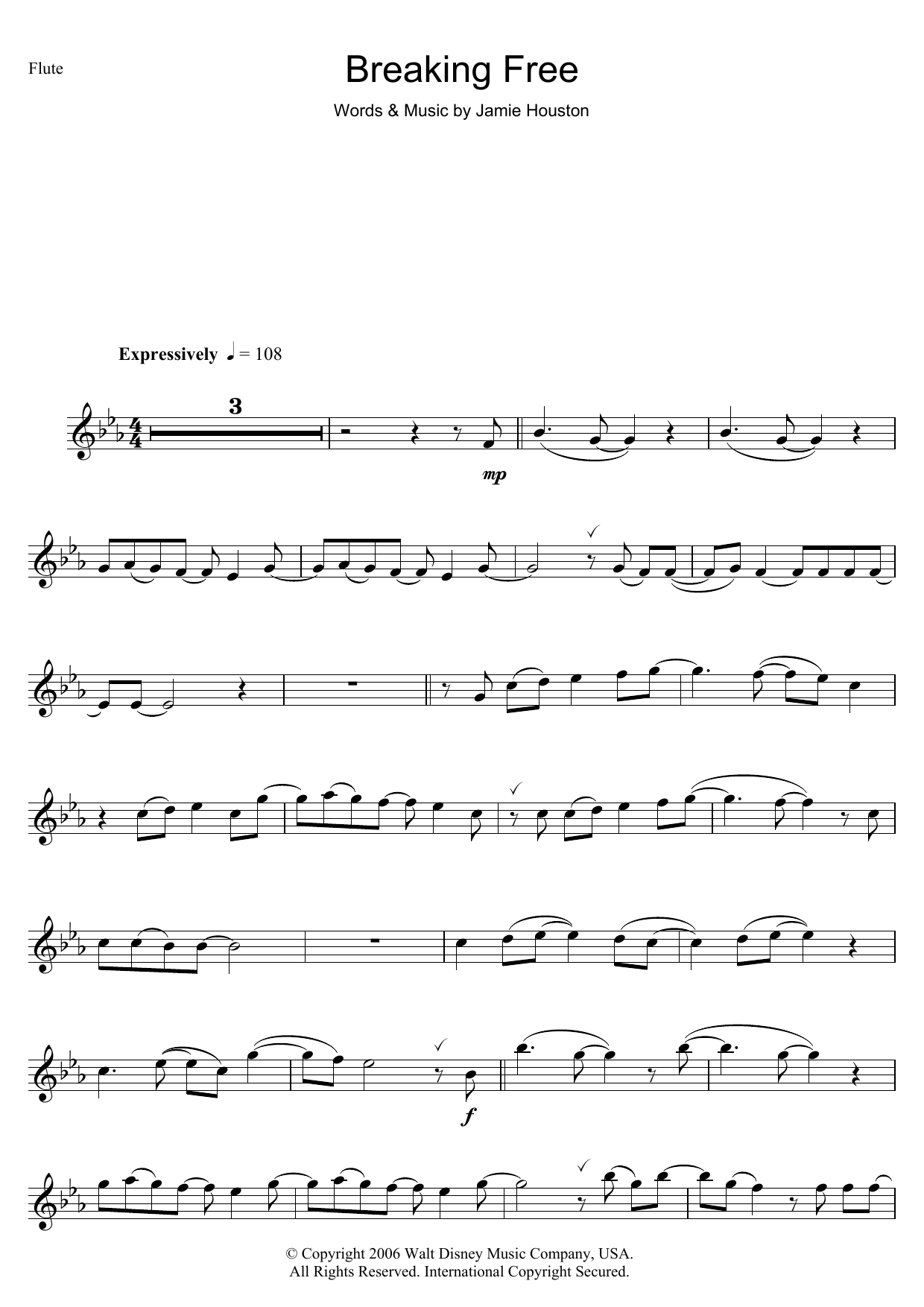 Download Vanessa Hudgens and Zac Efron Breaking Free (from High School Musical) sheet music and printable PDF score & Children music notes