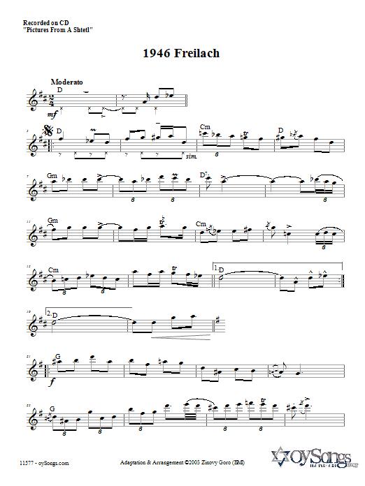 Download Zinovy Goro 1946 Freilach sheet music and printable PDF score & Religious music notes