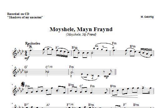 Download Zinovy Goro Moyshele, Mayn Freund sheet music and printable PDF score & Religious music notes
