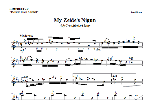 Download Zinovy Goro My Zeide's Nigun sheet music and printable PDF score & Religious music notes
