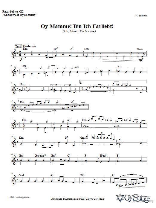 Download Zinovy Goro Oy Mamme! Bin Ich Farliebt! sheet music and printable PDF score & Religious music notes