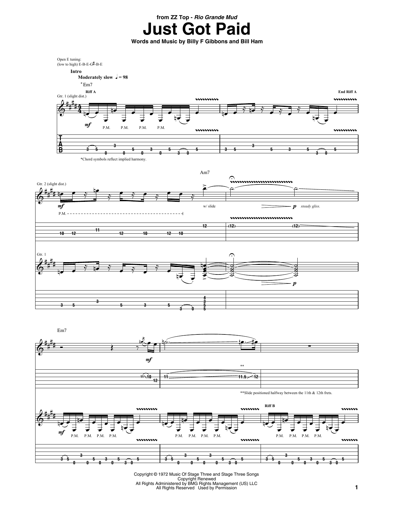 Download ZZ Top Just Got Paid sheet music and printable PDF score & Pop music notes